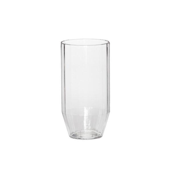 Hübsch drikkeglas i klar glas med riller. Pakke med 6 stk.