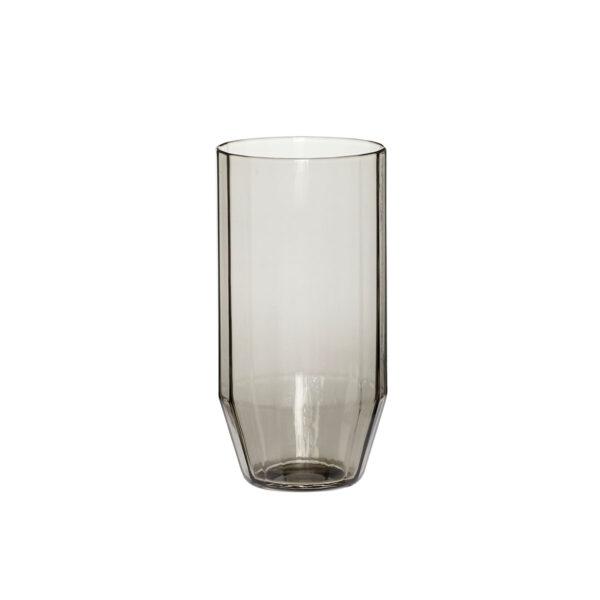 Hübsch drikkeglas i røget glas med riller. Pakke med 6 stk.