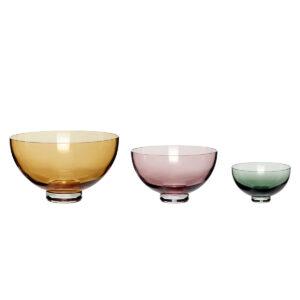 Hübsch skåle i glas. Sæt med 3 stk. i 3 forskellige farver.