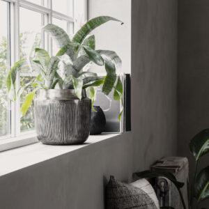 Heylo vase / urtepotte fra House Doctor i sølv oxideret