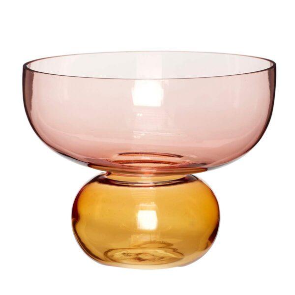 Hübsch glasvase i rosa og ravgul