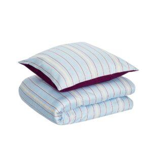 Hübsch sengetøj bomuldssatin blå, bordeaux, hvid, 140x200 cm