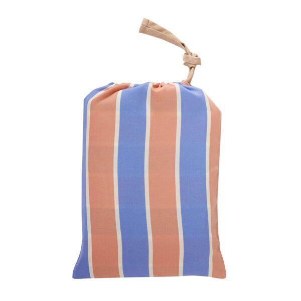 Hübsch sengetøj bomuldssatin i beige, blå, fersken og hvide striber - 140x200 cm