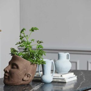 Nordal Eldey vase i grå stentøj med 2 hanke
