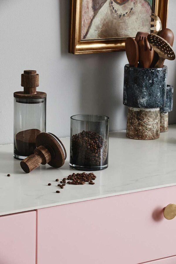 Nordal salvie glas opbevaring med trælåg