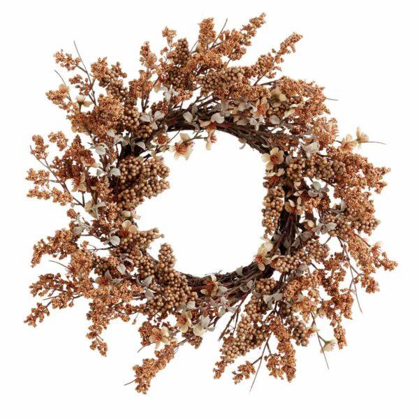 Nordal korpo krans i brun med blomster og bær