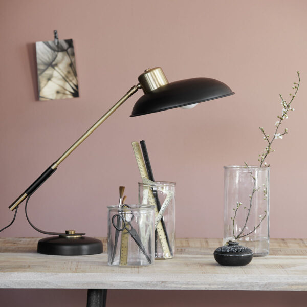 House Doctor art deco bordlampe i sort og messing
