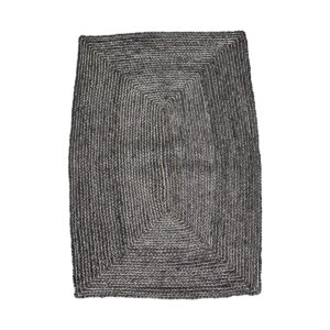 House Doctor structure gulvtæppe i sort og grå hamp, 130x85 cm