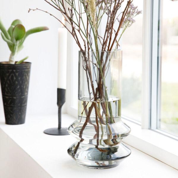 House Doctor Forms vase i grå glas 24 cm høj