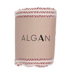 Algan elmas-iki gæstehåndklæde i mørk terrakotta
