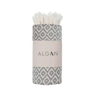 Algan Sumak gæstehåndklæde i grå diamant mønster