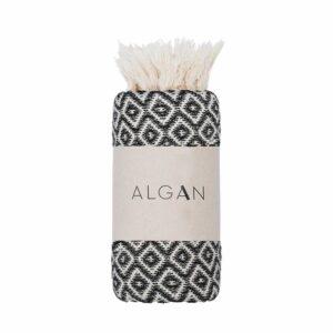 Algan Sumak gæstehåndklæde i sort diamant mønster