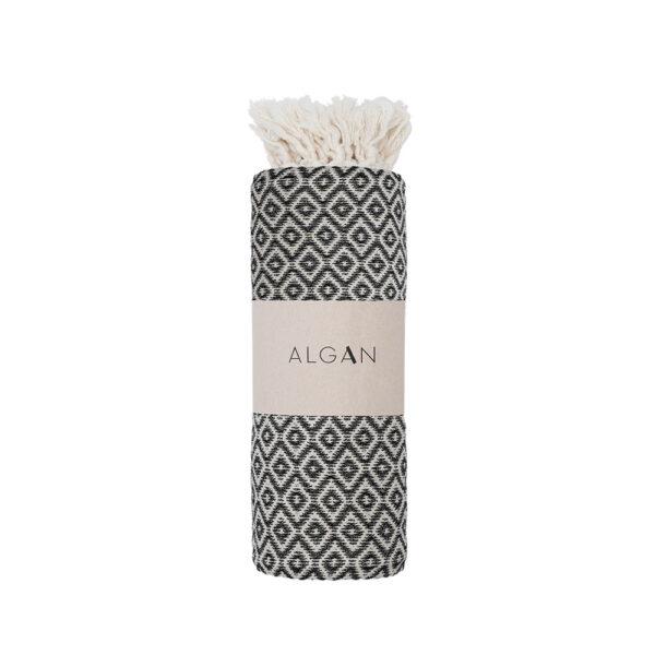 ALGAN Sumak hammamhåndklæde i sort diamant mønster