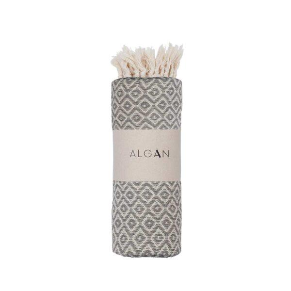 ALGAN Sumak hammamhåndklæde i grå diamant mønster