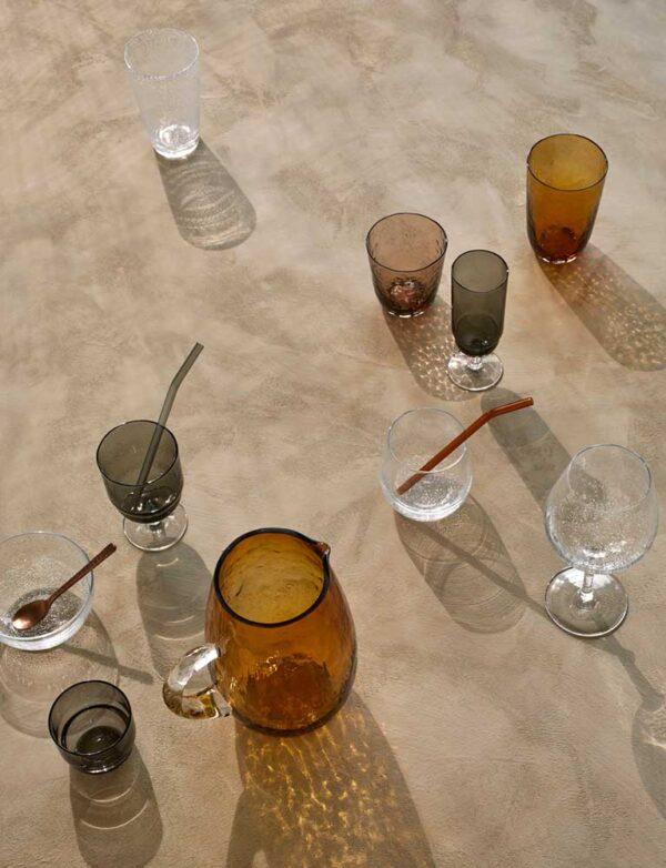 Broste Copenhagen Malle sugerør i grå glas