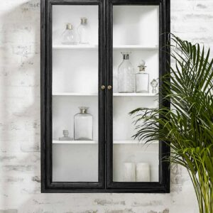 classic væghængt vitrineskab med glaslåger nordal i sort træ