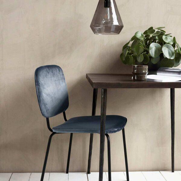 House Doctor comma spisebordsstol i grå velour