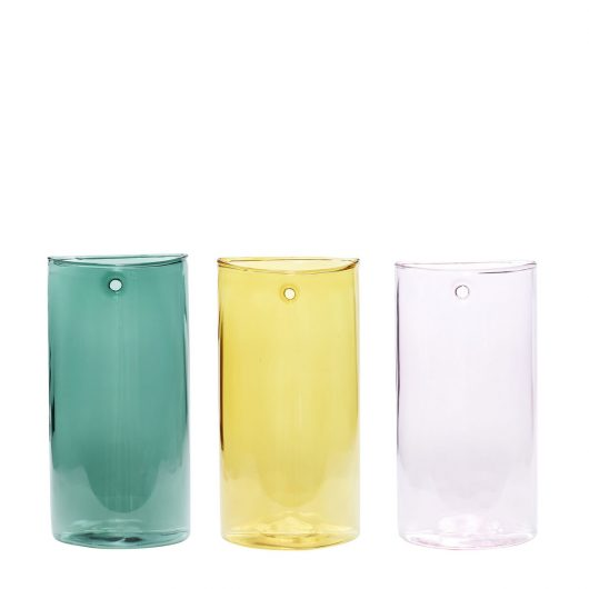 Glas vægvaser fra Hübsch i farverne lyserød, gul og grøn