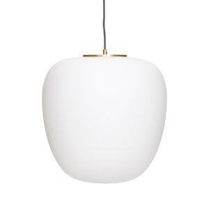 Hübsch pendel i hvid glas og messing Ø40 cm