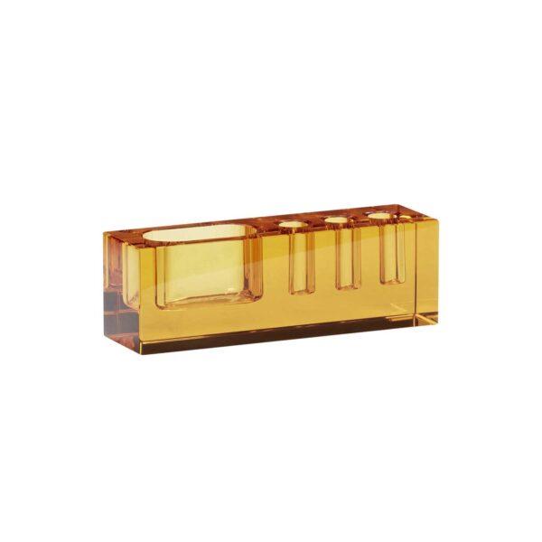 Hübsch skrivebordsordner i ravgul glas