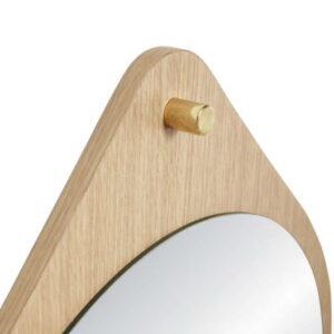 Rundt spejl fra Hübsch i egetræ