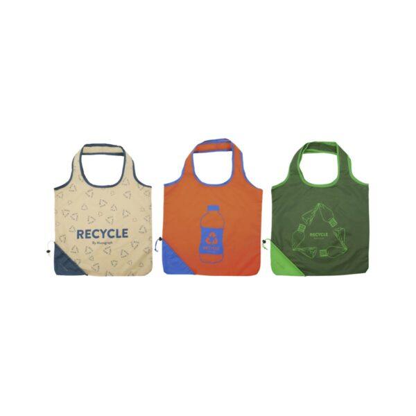 RECY taske/shopper fra Monograph i grøn, orange og angora