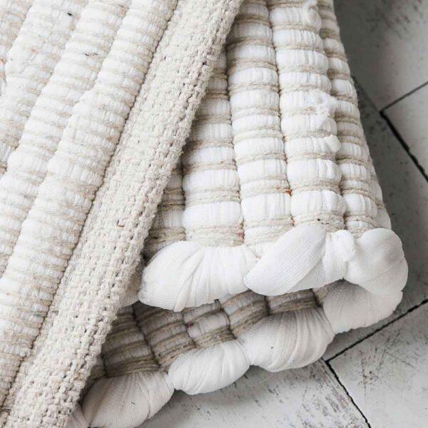House Doctor chindi gulvtæppe i hvid 160x70 cm