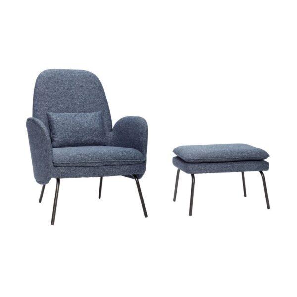 Lænestol med skammel fra Hübsch i blå og sort