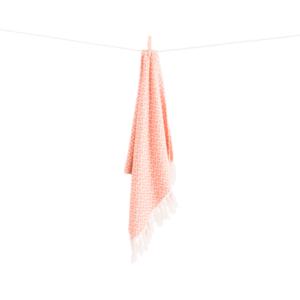 Ana gæstehåndklæde fra ALGAN i melon 2 hvid baggrund