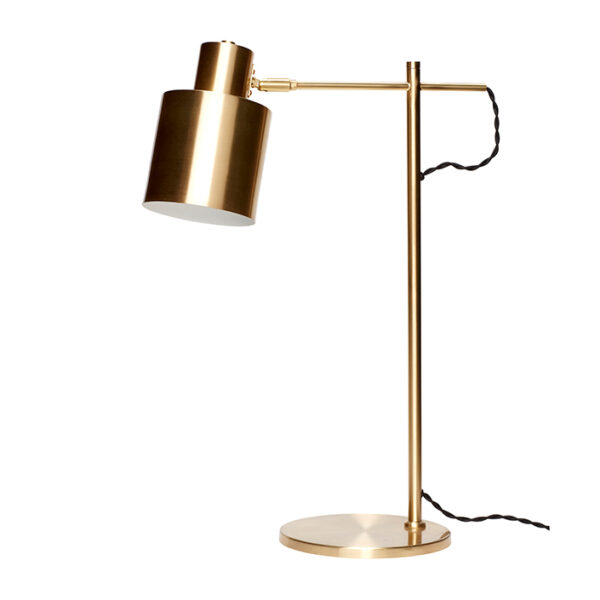 Bordlampe fra Hübsch i messing har en højde på 56 cm