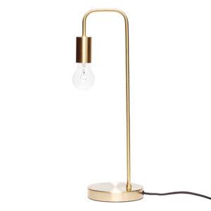 Bordlampe fra Hübsch i messing med et afrundet buk for oven