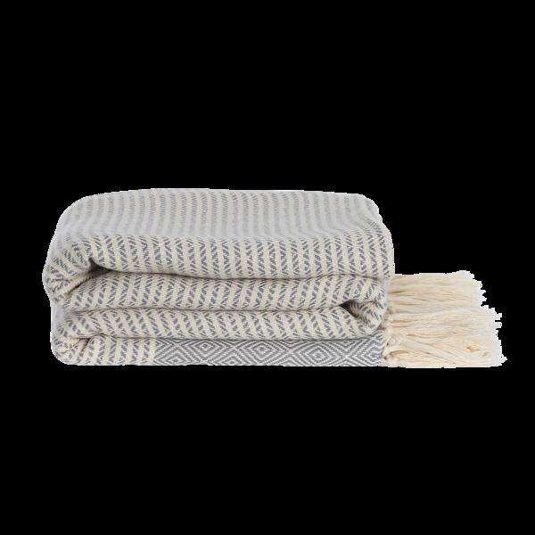 Elmas-iki plaid / sengetæppe fra ALGAN i grå