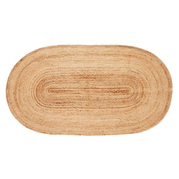 Gulvtæppe fra Hübsch i natur med en oval form
