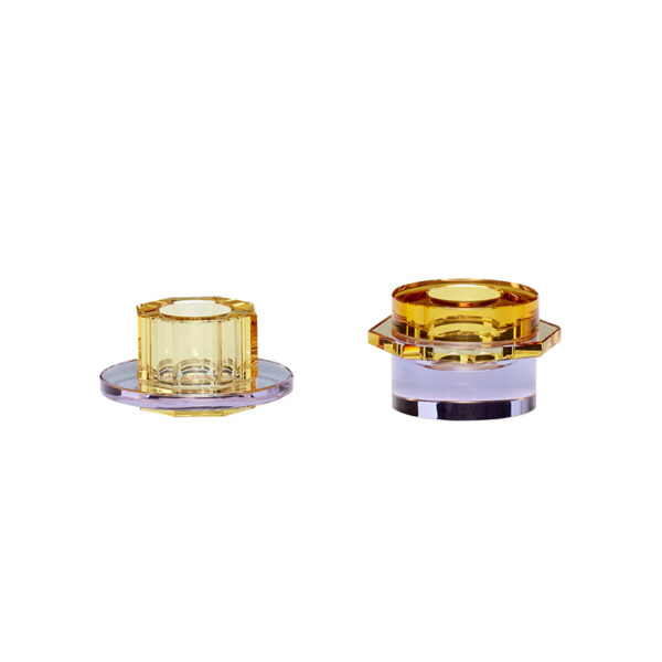 Lysestage i glas fra Hübsch i ravgul og lilla
