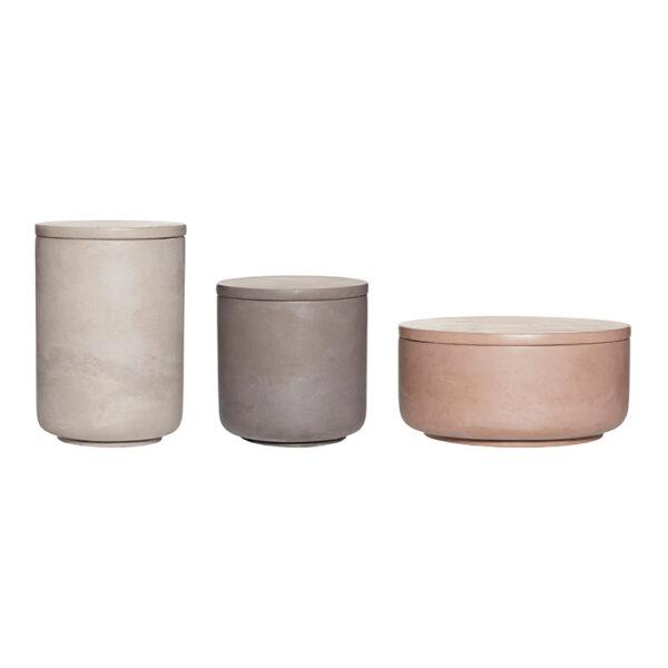 Opbevaringsboks med låg fra Hübsch i brun, lysegrå og mørkegrå