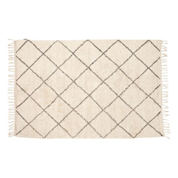 Tæppe fra Hübsch i hvid og grå