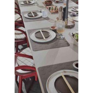 Inka dinner tallerken fra OYOY i hvid og brun