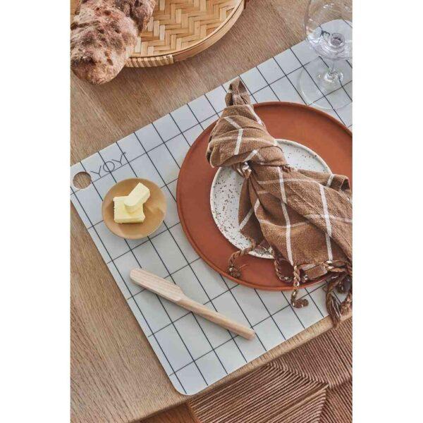 Inka lunch dessert tallerken fra OYOY i hvid og brun