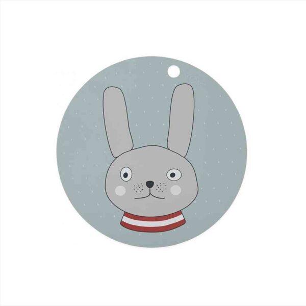 Rabbit dækkeserviet fra OYOY i blå/grå