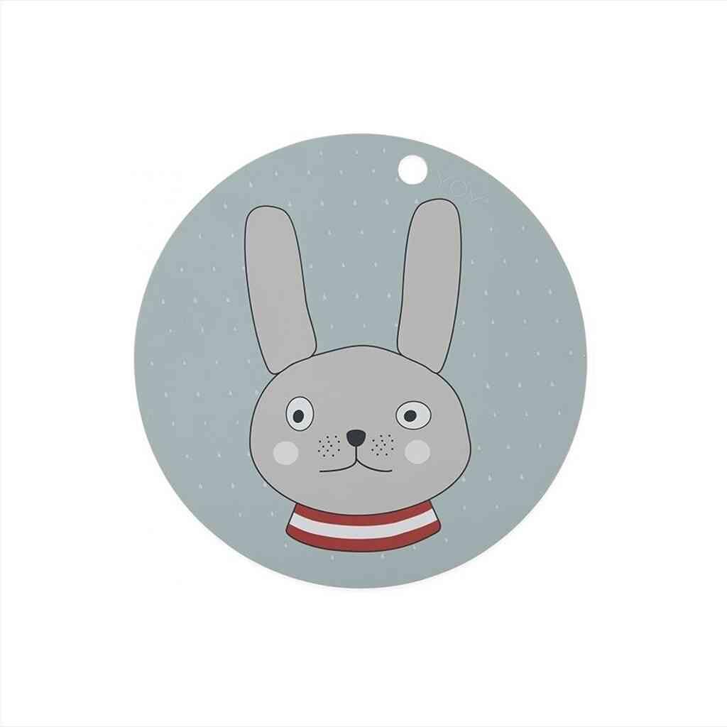 OYOY Rabbit Dækkeserviet – Blå/Grå