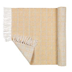 Henny tæppe fra Broste Copenhagen i lysegrå og gul