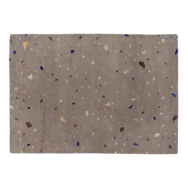 Terrazzo tæppe fra Broste Copenhagen i brun og blå