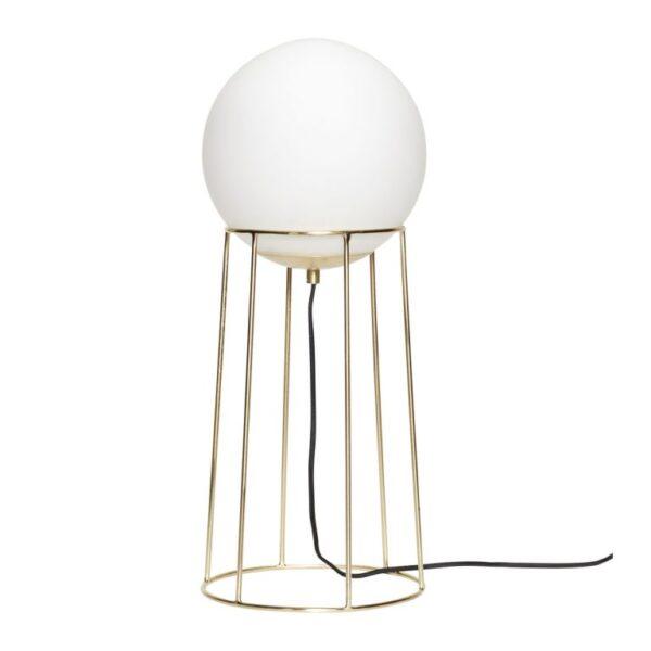 Gulvlampe fra Hübsch i messing og hvid