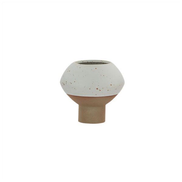 Hagi Mini vase fra OYOY i hvid og brun prikket