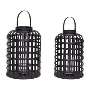 Rund lanterne fra Hübsch i sort bambus
