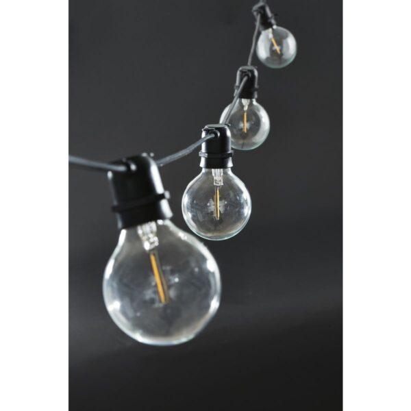Function lyskæde fra House Doctor i sort med bredde pærer