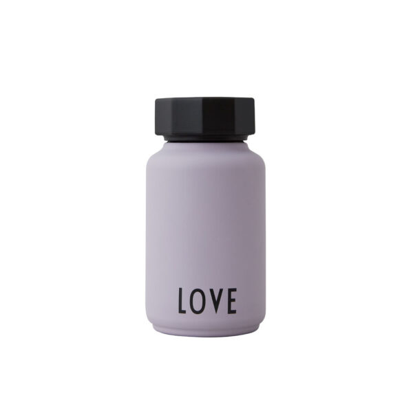 Trend termoflaske fra Design Letters i lilla med teksten LOVE