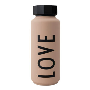 Design Letters lyserød termoflaske Love nude