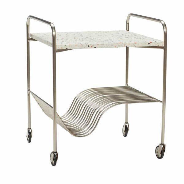 Hübsch rullebord i terrazzo og jern med nikkel finish