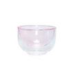 Hübsch skål i glas, rosa og klar
